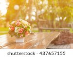 rose flower with blur... | Shutterstock . vector #437657155