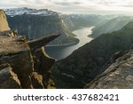norway tourism attraction  ... | Shutterstock . vector #437682421
