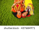 mother and daughter of african... | Shutterstock . vector #437684971