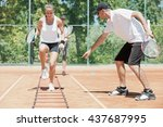 intensive cardio tennis...   Shutterstock . vector #437687995