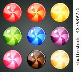 9 round colourful candies with... | Shutterstock .eps vector #437689255