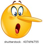 lying face. emoticon with long... | Shutterstock .eps vector #437696755