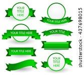 green banner set isolated on... | Shutterstock .eps vector #437698015