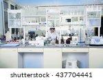 interior of clean modern white... | Shutterstock . vector #437704441