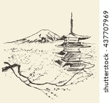sketch of fuji mountain with... | Shutterstock .eps vector #437707969