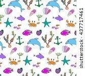 sea life set doodle elements ... | Shutterstock .eps vector #437717461