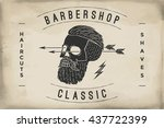 poster of barbershop label on a ... | Shutterstock . vector #437722399
