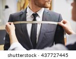 measuring front of jacket | Shutterstock . vector #437727445