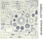 decorative pen drawing hand... | Shutterstock .eps vector #437733895