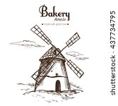 vintage bakery and bread shop... | Shutterstock .eps vector #437734795