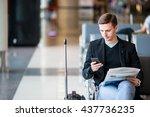 passenger in an airport lounge... | Shutterstock . vector #437736235