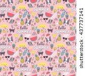 summer seamless pattern. french ... | Shutterstock .eps vector #437737141