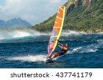 windsurfer rides among the huge ... | Shutterstock . vector #437741179