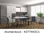 kitchen interior. 3d... | Shutterstock . vector #437744311