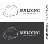construction logo isolated on... | Shutterstock .eps vector #437745691