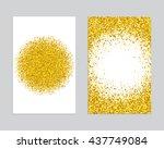 gold sparkles on white... | Shutterstock .eps vector #437749084