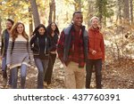 group of six friends hiking... | Shutterstock . vector #437760391