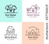 build outline vector logos.... | Shutterstock .eps vector #437760619