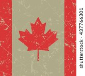square with maple leaf   grunge ...   Shutterstock .eps vector #437766301