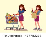 vector woman in supermarket... | Shutterstock .eps vector #437783239