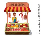 vector butcher shop with man on ... | Shutterstock .eps vector #437783245