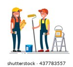 woman and man worker in house... | Shutterstock .eps vector #437783557