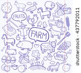 notebook farm day animals... | Shutterstock .eps vector #437792011