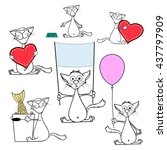 set of doodle cats. isolated on ... | Shutterstock .eps vector #437797909