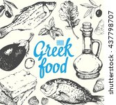 greek food background. menu... | Shutterstock .eps vector #437798707
