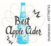blue beer bottle in sketch...   Shutterstock .eps vector #437798761