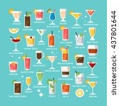 cocktail alcohol mixed drink... | Shutterstock .eps vector #437801644