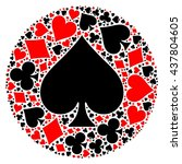 poker playing cards suit mosaic | Shutterstock .eps vector #437804605