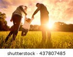 happy family in the park... | Shutterstock . vector #437807485