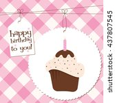 a birthday cupcake with and... | Shutterstock .eps vector #437807545