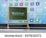 laptop with chalkboard  webinar ... | Shutterstock . vector #437810371