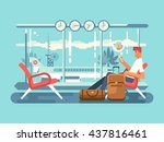 waiting at airport of departure | Shutterstock .eps vector #437816461