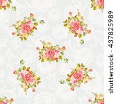 seamless floral pattern with...   Shutterstock .eps vector #437825989