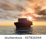 3d Illustration Of A Cargo Ship