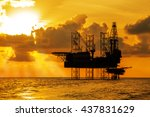 silhouette  offshore jack up... | Shutterstock . vector #437831629