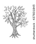forest tree. sketchy style. | Shutterstock .eps vector #437831845