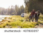 family on a camping trip... | Shutterstock . vector #437833357