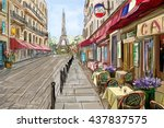 street in paris   illustration... | Shutterstock . vector #437837575