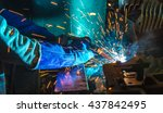 welder industrial automotive... | Shutterstock . vector #437842495