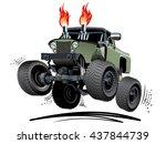 cartoon monster truck.... | Shutterstock .eps vector #437844739