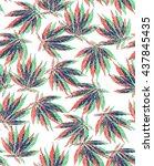 3d marijuana pattern | Shutterstock .eps vector #437845435