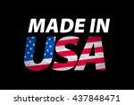 vector made in the usa logo... | Shutterstock .eps vector #437848471