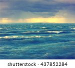 stormy dramatic sky at sunset... | Shutterstock . vector #437852284