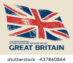 scratched great britain flag.... | Shutterstock .eps vector #437860864