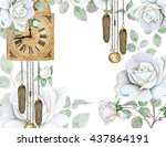 Stock photo watercolor delicate white roses with old fashioned clock 437864191