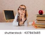 clever little schoolgirl in... | Shutterstock . vector #437865685